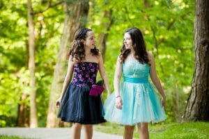 twin-girls-bat-mitzvah-party-dresses-pink-black-blue